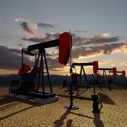 oil pumps on the sunset sky - stock illustration