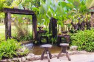 Stock Photo of small pond and garden