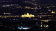 Stock Video Footage of 4K Budapest Hungary by Night Aerial View Timelapse 2