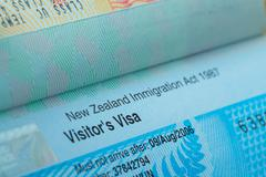passport stamp visa for travel concept background, new zealand - stock photo
