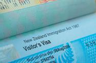 Stock Photo of passport stamp visa for travel concept background, new zealand