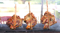Barbecue chicken roasted Stock Footage