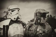 Armored Warriors with Coudy Sky in the Background Stock Photos