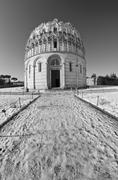 Piazza dei Miracoli in Pisa after a Snowstorm Stock Photos