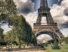 Eiffel Tower from Park du Champ de Mars, Paris Stock Photos