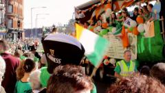 Birmingham's St Patrick's Day parade 2014 - people on the truck Stock Footage