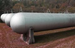tanks very sturdy to hold methane gas during the winter - stock photo