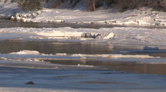 Fast flowing river near dam during Ontario spring melt and flooding season. Stock Footage