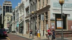 People walk down king street, perth, australia Stock Footage