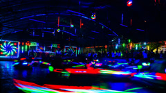 Timelapse of Bumper Cars in night Stock Footage
