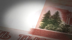 Russian Ruble Close-up Stock Footage