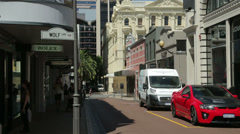 Tilt up of king street shops to buildings, Perth, Australia Stock Footage