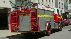 Fire engine with flashing lights, hay street, perth, australia Stock Footage