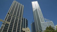 Tilt of skyscrapers, central park tower and amp tower, perth, australia Stock Footage