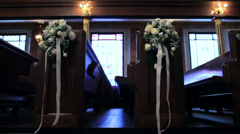 Church Pews and Flowers Stock Footage
