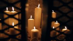 Fireplace Candles Stock Footage