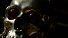 Skull of a terminator sliding - stock footage