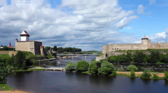 View fortress of Narva and Ivangorod fortress Stock Footage