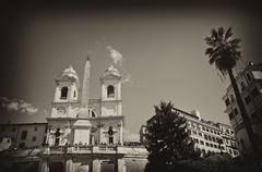 Piazza di Spagna and Trinita' dei Monti in Rome - stock photo