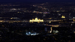 4K Budapest Hungary by Night Aerial View Timelapse 1 Stock Footage