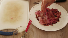 Steak seasoning with sesame seed, and black pepper Stock Footage
