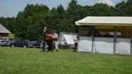 Stock Video Footage of horse cot stall and farmer man master show saddle heavy horse