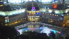 Impressive Time Lapse PETRONAS Twin Towers dancing water fountain Kuala Lumpur Stock Footage