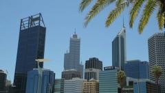 Pan of perth skyline and central business district, australia Stock Footage