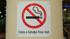 Smoke free mall sign, perth, australia Stock Footage