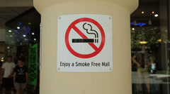 Smoke free mall sign, perth, australia Stock Footage