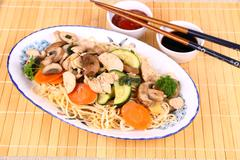 Chicken meat, china-asian noodle, vegetables Stock Photos