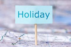 Stock Photo of map with note about holiday