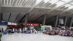 Waiting hall of beijing south railway station,China Stock Footage