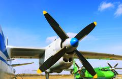 aircraft propeller - stock photo