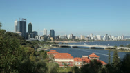 Stock Video Footage of perth skyline, Swan River and road bridge, australia