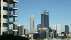 perth skyline with apartments in foreground, australia - stock footage