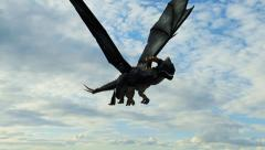 Dragon in flight Close-Up tracking shot Stock Footage