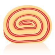 Swiss Roll Strawberry - stock illustration