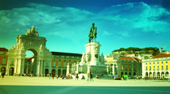 the Commerce square (Praca do Comercio) in Lisbon, Portugal, - stock footage