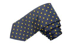 Yellow diamond pattern shappes blue tie - stock photo