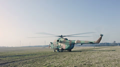 Russian Military Helicopter ready to flight. Stock Footage