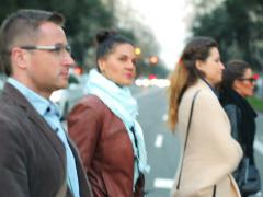 People crossing the street in the city Stock Footage