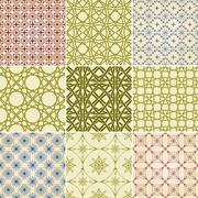 Stock Illustration of set of nine vector seamless patterns