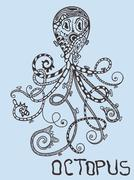 vector octopus - stock illustration