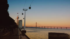 Aerial gondolas in Lisbon,Portugal,time lapse,4k Stock Footage
