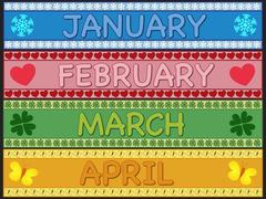 january february march april - stock illustration