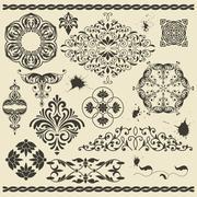 floral design elements and blots - stock illustration
