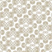 vector seamless floral paper cut pattern - stock illustration