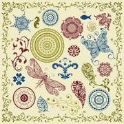 Stock Illustration of vector summer vintage floral bright  design elements