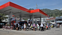 Thailand, Phuket, February 2014. Petrol station with clients. Stock Footage